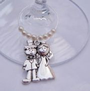 Wedding Couple Wine Glass Charm - Beaded Style